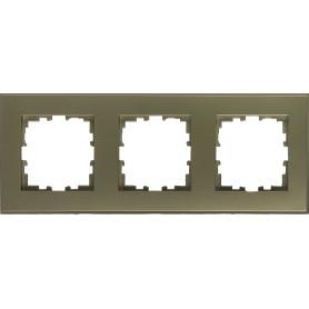 Рамка для розеток и выключателей Lexman Виктория плоская, 3 поста, цвет шампань матовый