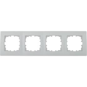Рамка для розеток и выключателей Lexman Виктория сферическая, 4 поста, цвет белый