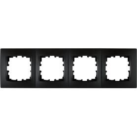 Рамка для розеток и выключателей Lexman Виктория сферическая, 4 поста, цвет чёрный бархат матовый