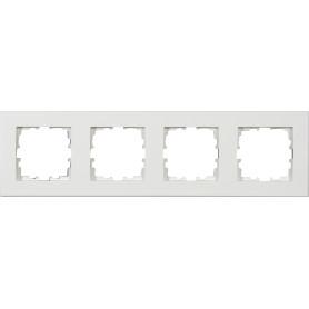 Рамка для розеток и выключателей Lexman Виктория плоская, 4 поста, цвет белый