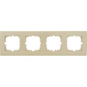 Рамка для розеток и выключателей Lexman Виктория плоская, 4 поста, цвет жемчужно-белый