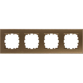 Рамка для розеток и выключателей Lexman Виктория плоская, 4 поста, цвет матовая бронза