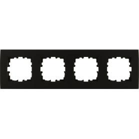 Рамка для розеток и выключателей Lexman Виктория плоская, 4 поста, цвет чёрный
