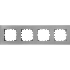 Рамка для розеток и выключателей Lexman Виктория плоская, 4 поста, цвет серый