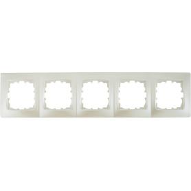Рамка для розеток и выключателей Lexman Виктория сферическая, 5 постов, цвет жемчужно-белый матовый
