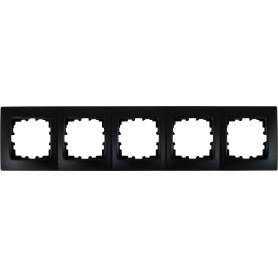 Рамка для розеток и выключателей Lexman Виктория сферическая, 5 постов, цвет чёрный бархат матовый