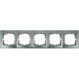 Рамка для розеток и выключателей Lexman Виктория сферическая, 5 постов, цвет матовое серебро