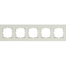 Рамка для розеток и выключателей Lexman Виктория плоская, 5 постов, цвет белый