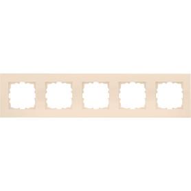 Рамка для розеток и выключателей Lexman Виктория плоская, 5 постов, цвет бежевый