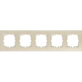 Рамка для розеток и выключателей Lexman Виктория плоская, 5 постов, цвет жемчужно-белый
