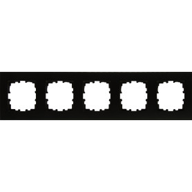 Рамка для розеток и выключателей Lexman Виктория плоская, 5 постов, цвет черный бархат матовый