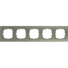 Рамка для розеток и выключателей Lexman Виктория плоская, 5 постов, цвет серебристый