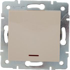 Выключатель встраиваемый Lexman Виктория 1 клавиша с подсветкой, цвет бежевый