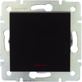 Выключатель встраиваемый Lexman Виктория 1 клавиша с подсветкой, цвет черный бархат матовый