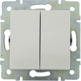 Выключатель встраиваемый Lexman Виктория 2 клавиши, цвет белый
