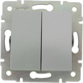 Выключатель встраиваемый Lexman Виктория 2 клавиши, цвет серебро матовый