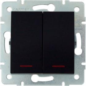 Выключатель встраиваемый Lexman Виктория 2 клавиши с подсветкой, цвет черный бархат матовый