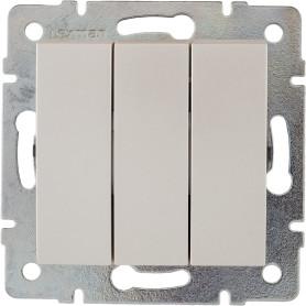 Выключатель встраиваемый Lexman Виктория 3 клавиши, цвет жемчужно-белый