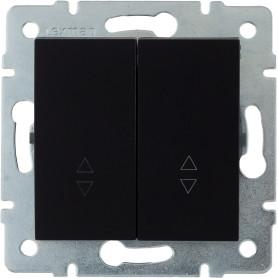 Переключатель встраиваемый Lexman Виктория 2 клавиши, цвет черный бархат матовый