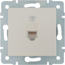Телефонная розетка встраиваемая Lexman Виктория RJ11, цвет жемчужно-белый матовый