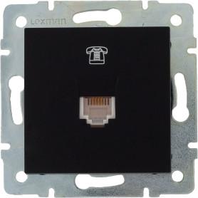 Телефонная розетка встраиваемая Lexman Виктория RJ11, цвет черный бархат матовый