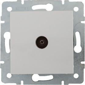 ТВ-розетка проходная встраиваемая Lexman Виктория шлейф, цвет белый