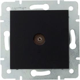 ТВ-розетка проходная встраиваемая Lexman Виктория шлейф, цвет черный бархат матовый