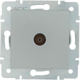 ТВ-розетка проходная встраиваемая Lexman Виктория шлейф, цвет матовое серебро