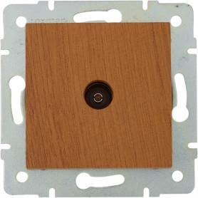 ТВ-розетка проходная встраиваемая Lexman Виктория шлейф, цвет дуб классический матовый