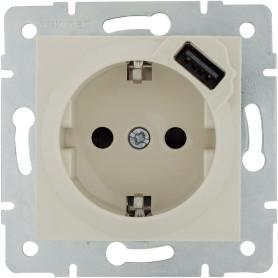 Розетка встраиваемая Lexman Виктория с заземлением, разъем USB, цвет бежевый