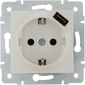 Розетка встраиваемая Lexman Виктория с заземлением, разъем USB, цвет жемчужно-белый матовый