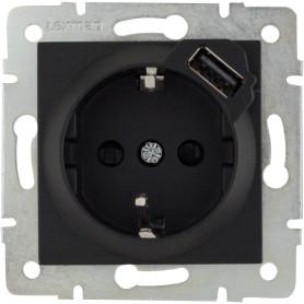 Розетка встраиваемая Lexman Виктория с заземлением, разъём USB, цвет чёрный бархат