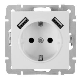 Розетка встраиваемая Werkel с заземлением, со шторками, 2 разъема USB, цвет белый
