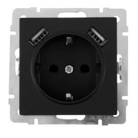 Розетка встраиваемая Werkel с заземлением, со шторками, 2 разъема USB, цвет чёрный