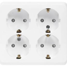 Розетка четверная накладная Schneider Electric Этюд с заземлением, цвет белый