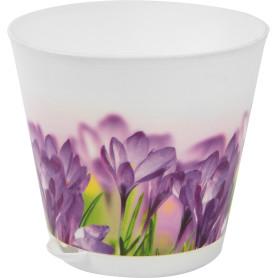 Горшок цветочный Ingreen Цветы ø12 h11.2 см v0.7 л пластик белый/сиреневый
