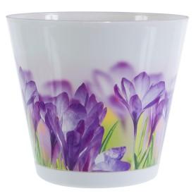 Горшок цветочный Ingreen Цветы ø16 h14.7 см v1.8 л пластик белый/сиреневый
