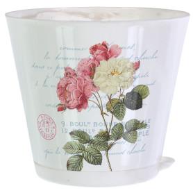 Горшок цветочный Ingreen Прованс ø16 h14.7 см v1.8 л пластик белый/розовый/зелёный