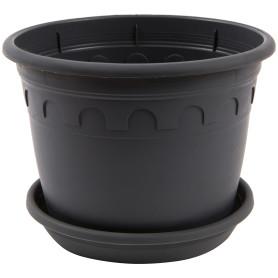 Горшок цветочный Газонcity Рома ø16 h12 см v1.5 л пластик тёмно-серый