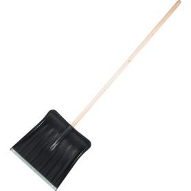 Лопата для уборки снега с планкой 35x35 см пластик деревянный черенок