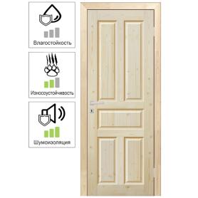 Дверь межкомнатная глухая Кантри 80x200 см, массив хвои, цвет натуральный