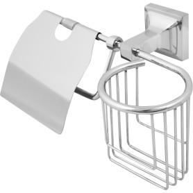 Держатель для туалетной бумаги и освежителя воздуха «Ладья» с крышкой цвет хром