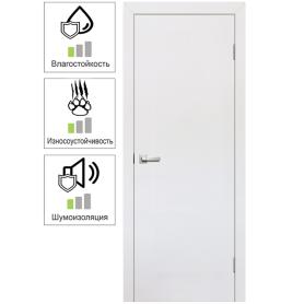 Дверь межкомнатная глухая 90x200 см, ламинация, цвет белый