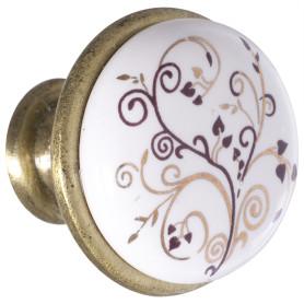 Ручка-кнопка Kerron с фарфором цвет бронза