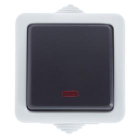 Выключатель накладной влагозащищенный LK Studio Aqua 1 клавиша с подсветкой IP54 цвет серый