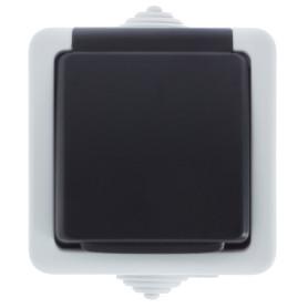 Розетка накладная LK Studio Aqua с заземлением, с крышкой, IP54, цвет серый