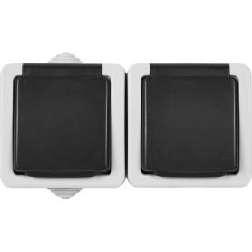 Розетка двойная накладная LK Studio Aqua с заземлением, с крышкой, IP54, цвет серый