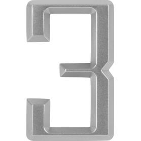 Цифра «3» Larvij самоклеящаяся 60х37 мм пластик цвет матовый хром