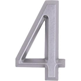 Цифра «4» Larvij самоклеящаяся 60х37 мм пластик цвет матовый хром