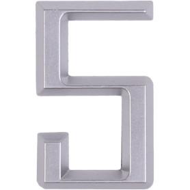 Цифра «5» Larvij самоклеящаяся 60х37 мм пластик цвет матовый хром